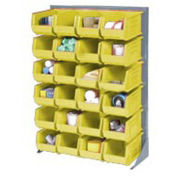 """Louvered Bin Rack With (58) Yellow Stacking Bins, 35""""W x 15""""D x 50""""H"""