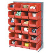 """Louvered Bin Rack With (58) Red Stacking Bins, 35""""W x 15""""D x 50""""H"""
