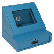 "LCD Console Counter Top Security Computer Cabinet, Blue, 24-1/2""W x 22-1/2""D x 22-1/8""H"
