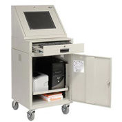"LCD Mobile Console Computer Cabinet, Gray, 24-1/2""W x 22-1/2""D x 55-1/2""H"
