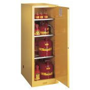 "54 Gallon 1 Door, Manual, Slimline, Flammable Cabinet, 23-1/4""W x 34""D x 65""H, Yellow"