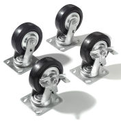 """Caster Kit - 4 Swivel, 2 With Brakes, With Mounting Plate, 5"""" X 1 1/2"""""""