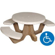 """42"""" Round ADA Picnic Table with 3 Benches, Concrete"""