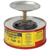 Justrite 1010-8 Safety Plunger Can, 1 Quart Steel