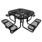 "46"" Octagonal Picnic Table, Expanded Metal, Surface Mount, Black"