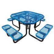 "46"" Octagonal Picnic Table, Expanded Metal, Surface Mount, Blue"