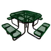 "46"" Octagonal Picnic Table, Expanded Metal, Surface Mount, Green"