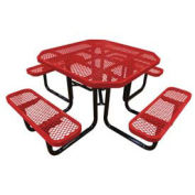 "46"" Octagonal Picnic Table, Expanded Metal, Surface Mount, Red"