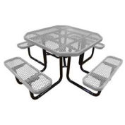 "46"" Octagonal Picnic Table, Expanded Metal, Surface Mount, Gray"