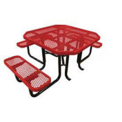 "46"" ADA Octagonal Picnic Table, Red, Expanded Metal, Surface Mount"
