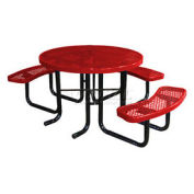 "46"" ADA Round Picnic Table, Red, Expanded Metal, Surface Mount"
