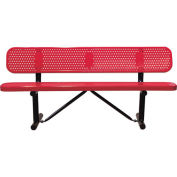 """96"""" Bench With Backrest, Surface Mount, Red"""