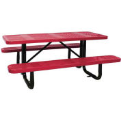 "96"" Rectangular Picnic Table, Surface Mount, Red"