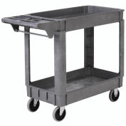 "Deluxe Small 2 Shelf Plastic Utility & Service Cart 5"" Rubber Casters, 40""L x 17""W x 33""H"