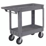 "Small Deluxe 2 Shelf Plastic Utility & Service Cart, 6"" Pneumatic Casters, 40""L x 17""W x 35""H"