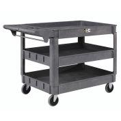 "Large Deluxe 3 Shelf Plastic Cart, 5"" Rubber Casters,  46""L x 25""W x 33""H"