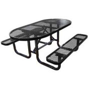 """72"""" Oval Picnic Table, Expanded Metal, Surface Mount, Black"""