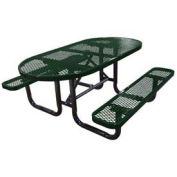 "72"" Oval Picnic Table, Expanded Metal, Surface Mount, Green"
