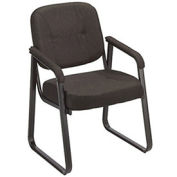 Sled Base Reception Chair, Fabric Upholstery, Black