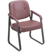 Reception Chair, Anti-Microbial Vinyl Upholstered, Burgundy