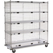 "Nexel Enclosed Wire Exchange Truck 5 Wire Shelves 1000 Lb. Cap., 48""x18""x69"""