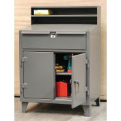 """Cabinet Shop Desk with Drawer, 36""""W x 28""""D x 42""""H, Gray"""