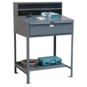 "Open Leg Shop Desk with Drawer, 36""W x 28""D x 42""H, Gray"