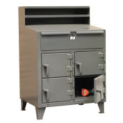 """Multi Person 4 Locker Shop Desk, 36""""W x 28""""D x 42""""H, Gray"""