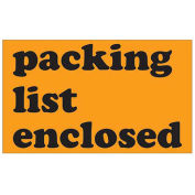 """3""""x5"""" Packing List Enclosed Labels, Orange, 500 Per Roll"""
