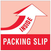 """4"""" x 4"""" Packing Slip Inside Labels, Red/White, 500 Per Roll"""