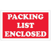 """3""""x5"""" Packing List Enclosed Labels, Red/White, 500 Per Roll"""