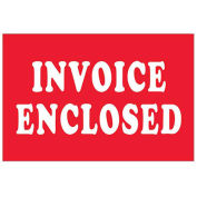 """2"""" x 3"""" Invoice Enclosed Labels, Red, 500 Per Roll"""