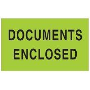 "3"" x 5"" Documents Enclosed Labels, Green, 500 Per Roll"