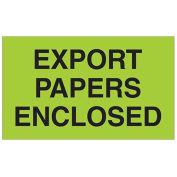 "3"" x 5"" Export Papers Enclosed Labels, Green, 500 Per Roll"