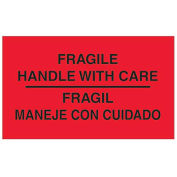 """3"""" x 5"""" Fragile Handle with Care Bilingual Labels, Fluorescent Red, 500 Per Roll"""