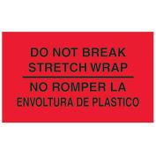 "3"" x 5"" ""Do Not Break Stretch Wrap"" Bilingual Labels, Fluorescent Red, 500 Per Roll"