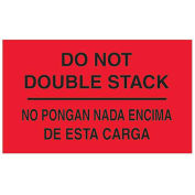 """3"""" x 5"""" """"Do Not Double Stack"""" Bilingual Labels, Fluorescent Red, 500 Per Roll"""