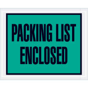 """Packing List Enclosed, Full Face 4-1/2""""x5-1/2"""", Green, 1000 Pack"""