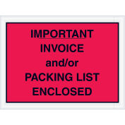 """4-1/2"""" x 6"""" Red Important Invoice and/or Packing List Enclosed, Full Face, 1000 Pack"""