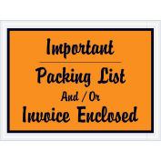 """4-1/2""""x6"""" Orange Script Important Packing List And/Or Invoice Enclosed, 1000 Pack"""
