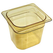 Rubbermaid Commercial Hot Food Container, 1/6 Size, 2-1/2 Quarts, Amber