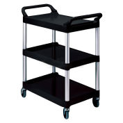 Rubbermaid® Three-Shelf Black Utility Cart