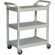 "Rubbermaid 3424-88 Three-Shelf Platinum Utility Cart, 33-5/8""L x 18-5/8""W x 37-3/4""H"