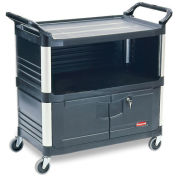 Rubbermaid® Xtra™ 3 Shelf Black Equipment Locking Cabinet Cart
