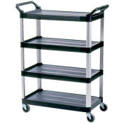 "Rubbermaid Xtra 4096 4 Shelf Black Utility Cart with Open Sides, 40-5/8""L x 20""W x 51""H"