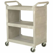 "Rubbermaid 3355-88 Platinum 3-Shelf Utility Cart with Enclosed End Panels, 31""L x 18""W x 37-1/2""H"