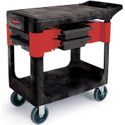 "Rubbermaid 6180-88 Black Trades Cart with Locking Cabinet, 38""L x 19-1/4""W x 33-3/8""H"