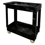 RUBBERMAID Economical Tray Shelf Black Plastic Service Cart