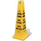 "Rubbermaid 4-Sided Multi-Lingual Wet Floor Caution Safety Cone 36""H"
