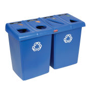 Rubbermaid Glutton® Trash & Recycling Station, Blue, 96 Gallon Cap. Total